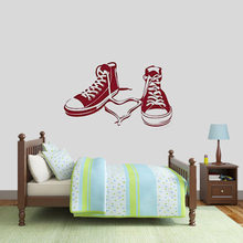 Canvas Shoes Wall Decal Interior Design Vinyl Wall Sticker Teens Boys Bedroom Living Room Home Decor Fashion Glass Mural Q246(China)
