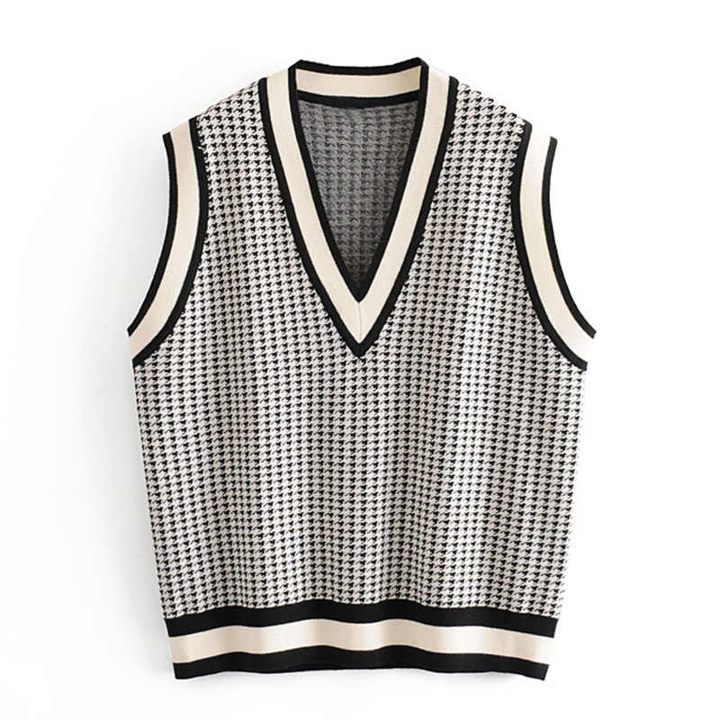 Elina Autumn Casual Houndstooth Vests Women Fashion Pullover Coats Women Elegant Loose V Neck Vests Female Ladies KH