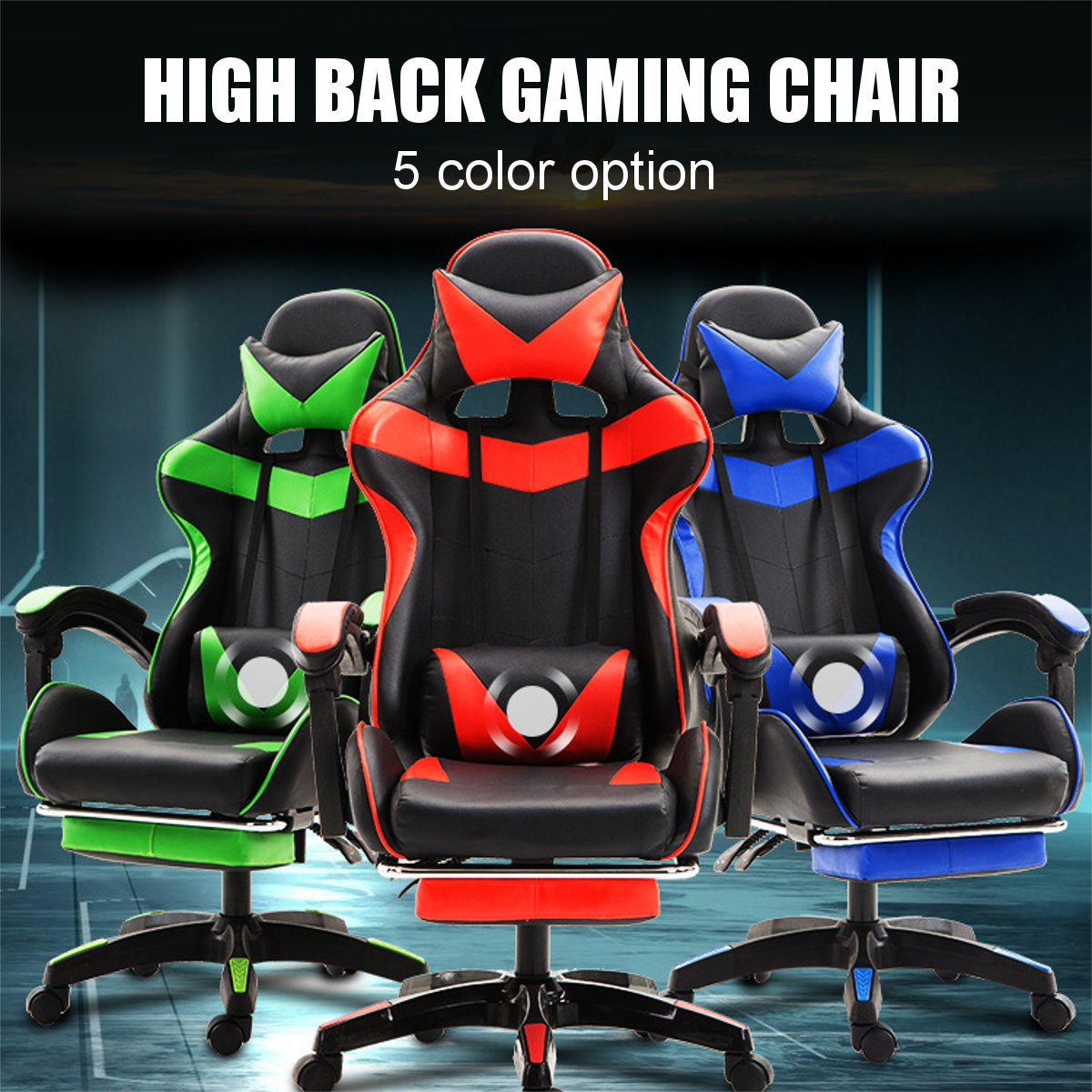 Professional PU Leather Racing Gaming Chair Office High Back Ergonomic Recliner With Footrest Computer Chair Furniture 5 Colors