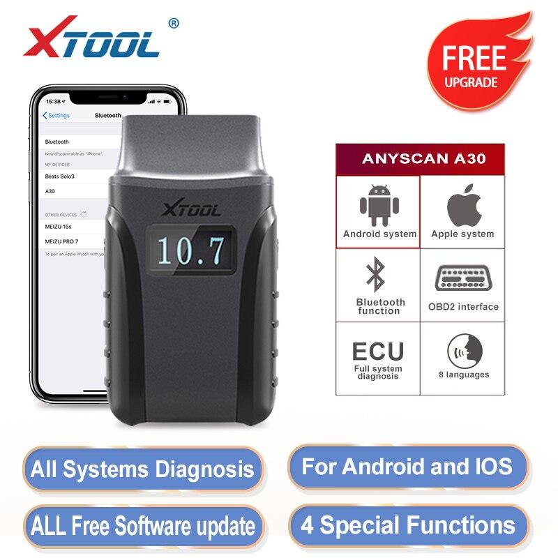 XTOOL Anyscan A30 Bluetooth OBD2 сканер с Android/IOS код считывает полные системы диагностики мультимарки автомобилей Бесплатное онлайн обновление