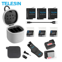 TELESIN 3Pack Battery + 3 Slots Charger TF Card Reader Charging Storage Box Backpack Clip Lens Cap for Gopro Hero 8 7 6 5 Black