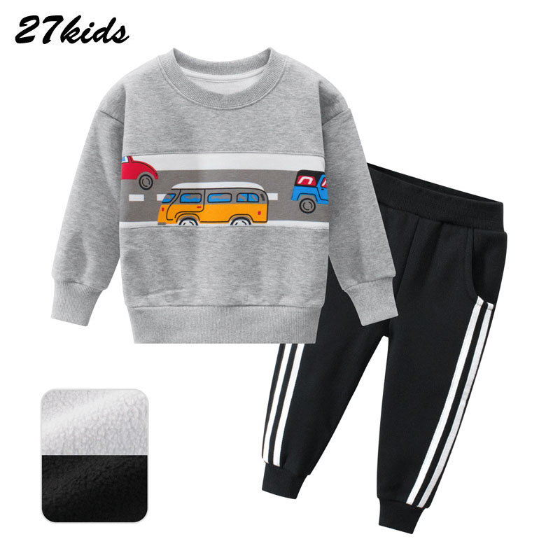 Boy Girl clothes Autumn and Winter Car Pattern Children's Sweater Set Children's Suit Baby Two-Piece Kids Leisure Sport Suit 1