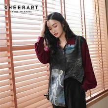 Cheerart Vintage Angel Print Shirt Long Sleeve Womens Tops And Blouses Red Patchwork High Low Blouse Fall Clothing 2019 men lion print high low blouse