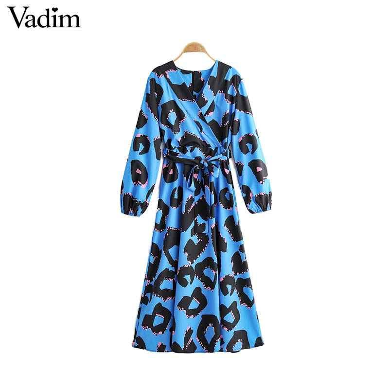 Vadim נשים אופנה הדפסת מקסי שמלת V צוואר sashes ארוך שרוול חתיכה אחת נקבה קרסול אורך שמלות vestidos QC973