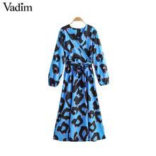Vadim kadın moda baskı maxi elbise V boyun papyon sashes uzun kollu tek parça kadın ayak bileği uzunluğu elbiseler vestidos QC973