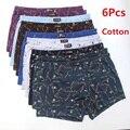 6Pcs/Lot Men'S Underwear Boxer Shorts Cotton Plus Size Loose Breathable Mid-Waist Print Sexy Middle-Aged Men'S Shorts