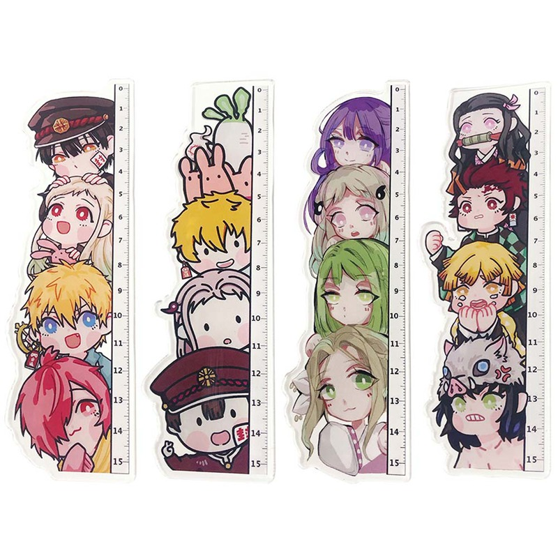 Anime Demon Slayer: Kimetsu No Yaiba Kamado Tanjirou Cosplay Acrylic Ruler Measuring Scale Students Cartoon Measure Ruler Gift