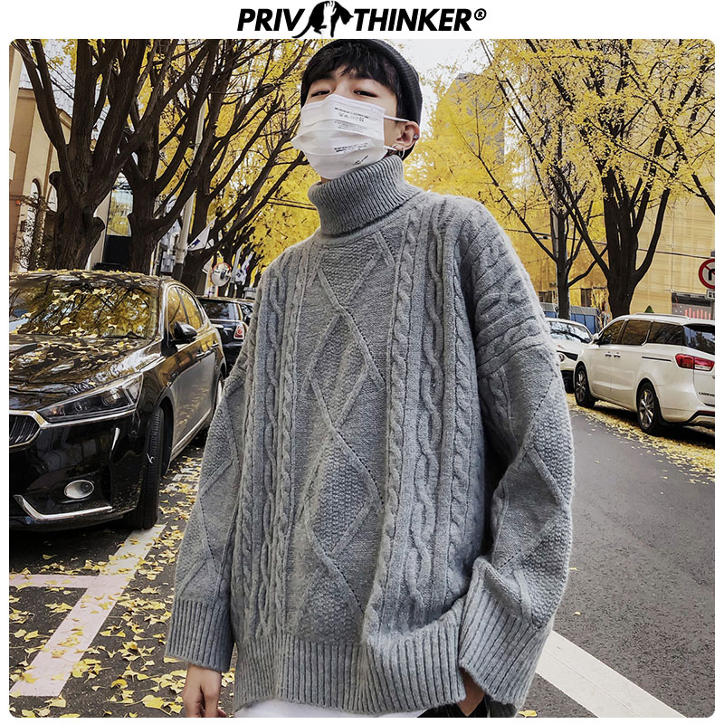 Privathinker Men's 2019 Harajuku Autumn Winter Sweaters Men Solid Coarse Wool Fashion Pullovers Male Warm Clothes Turtleneck