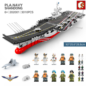 Image 5 - SEMBO DHL 3010pcs Aircraft Toy Carrier 1:350 Model Building Blocks Military Army Warship Cruiser Bricks Set Models Kids Gift