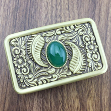Grass & Jade Belt Buckle Pure Brass Western Cowboy Mens Accessory