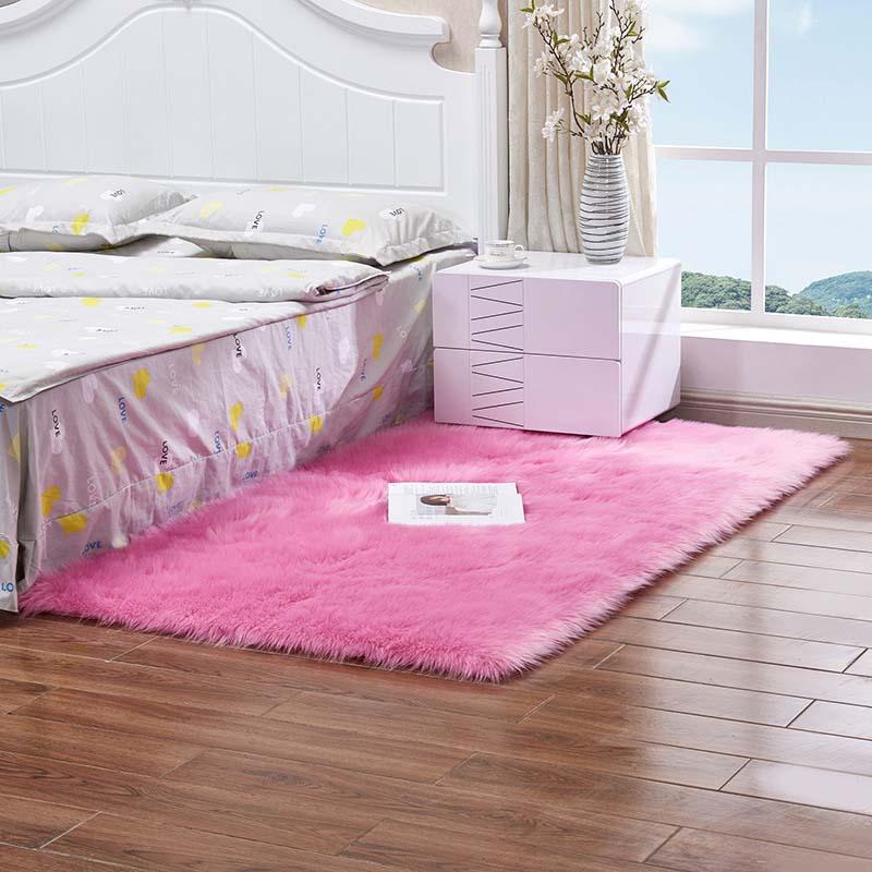 Очень мягкие прямоугольные коврики из искусственного меха овчины для спальни, напольный ворсистый шелковистый плюшевый ковер, белый ковер из искусственного меха, прикроватные коврики - Цвет: hot pink