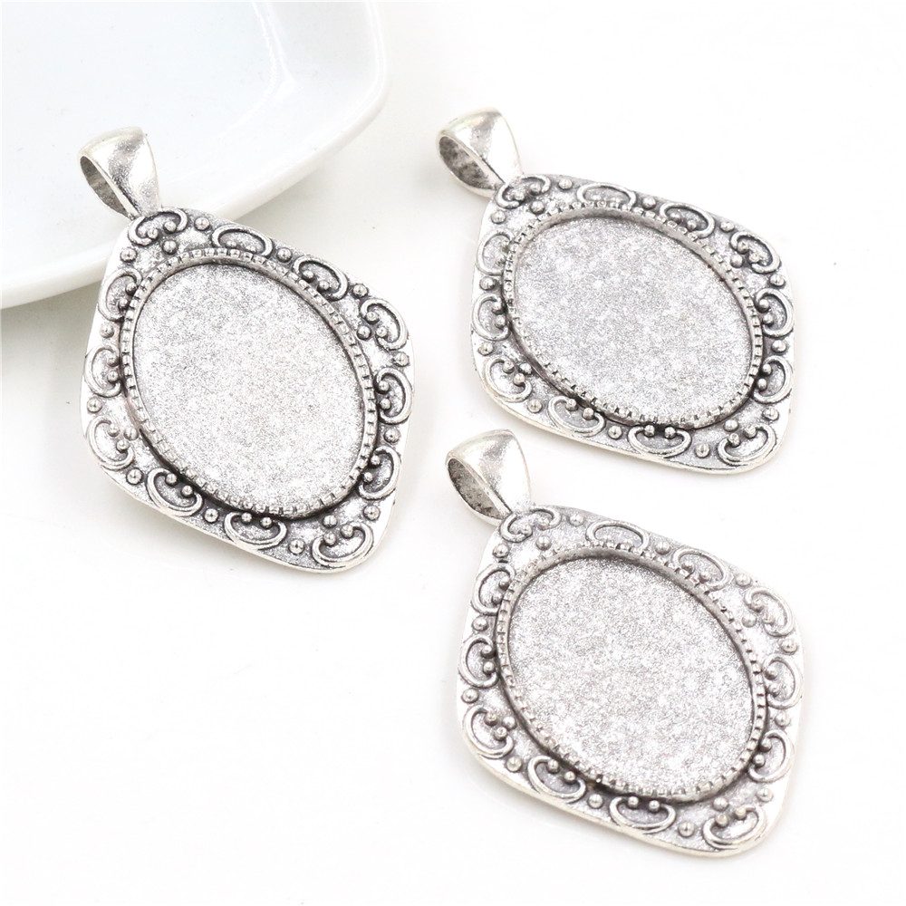 4pcs 18x25mm Inner Size Antique Silver Plated Flowers Style Cameo Cabochon Base Setting Pendant Necklace Findings  (C2-42)