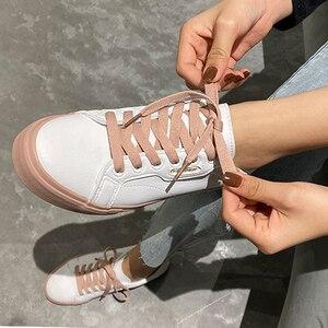 Image 4 - נעלי אישה 2020 אביב חדש שטוח עור סניקרס נשי מוצק צבע תלמיד פלטפורמת נעליים מזדמן נמוך למעלה דירות נשים נעליים