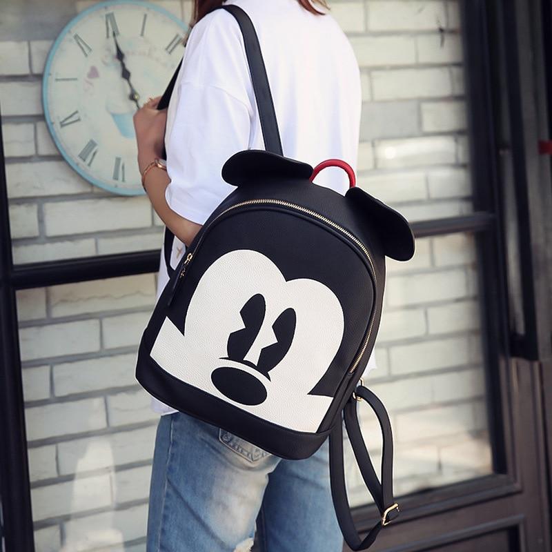 Disney Men Women Leisure Pu Bag Shoulder Mickey Mouse Lady Outdoor Cartoon Plush Backpack Travel Handbag Lovely Gift Bag Diaper