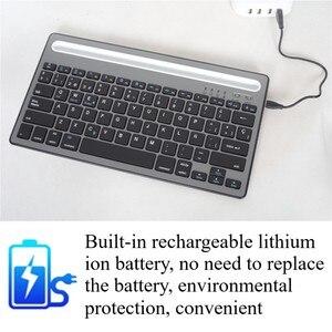 Image 4 - MIni teclado Bluetooth con soporte para teléfono, recargable para tableta de doble canal teclado inalámbrico/portátil/teléfono