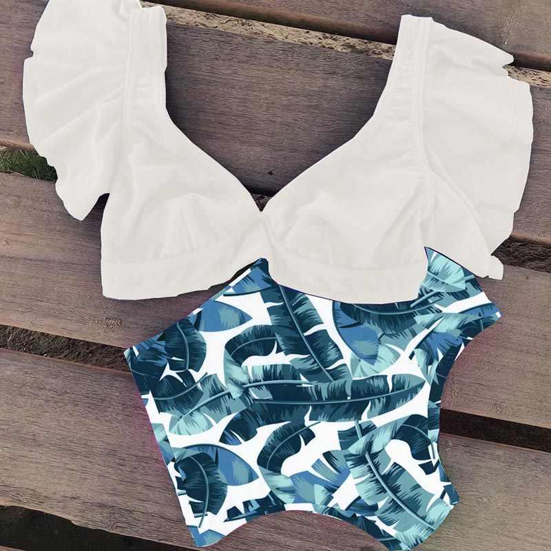 Wzburzyć wysokiej talii Bikini 2019 stroje kąpielowe kobiety strój kąpielowy Push Up Bikini kobiety Biquini drukuj kostium kąpielowy damski kostium kąpielowy strój kąpielowy