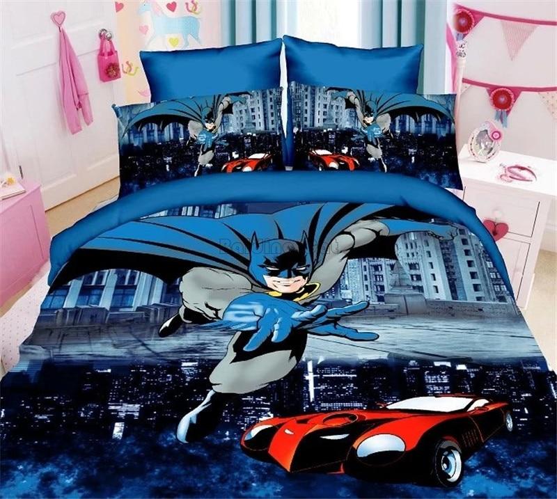 Super Hero Anime Batman Spiderman Bedding Sets 2/3pcs Bedclothes Include Duvet Cover Bed Sheet Pillowcase Kids Room Bed Sets