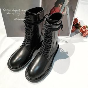 Image 3 - 2020 חדש חם שחור רך עור נשים קרסול מגפי תחרה עד מקרית שטוח נעלי אישה קצר נעלי רכיבה מגפי דירות