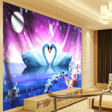 Ombre Galaxy Psychedelic Tapestry Moon Wall Hanging 3d Lotus Flowers Cloth Bohemian Bedroom Art Decor Couple Swan