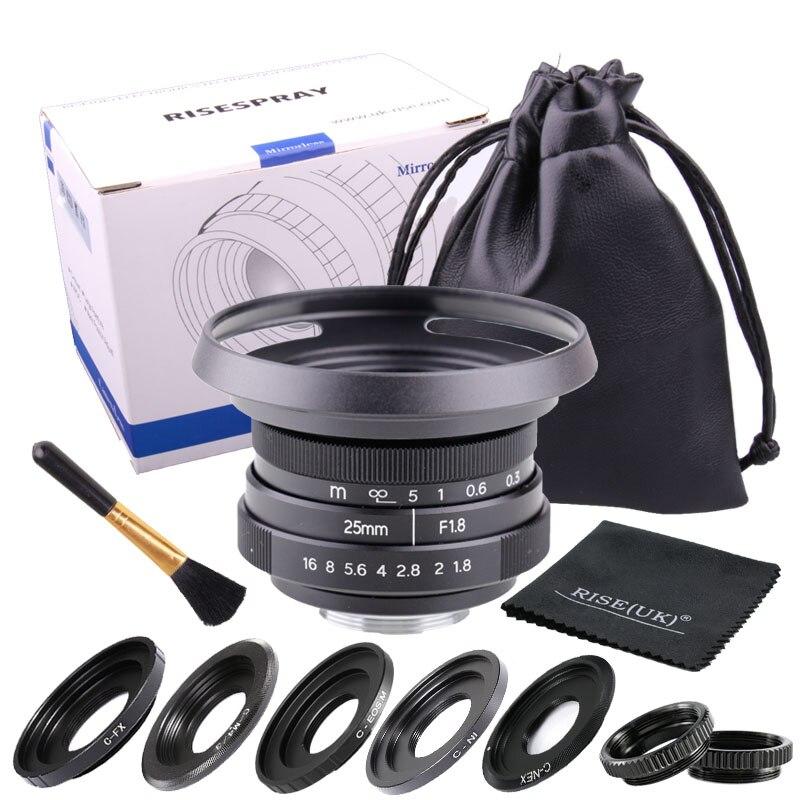 FUJIAN 25mm f1.8 C mount CCTV Lens II camera lens for N1 Fujifilm FX NEX Micro 4/3 EOS M black free shipping