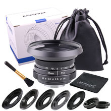 Fujian lente de câmera para n1, 25mm, f1.8 c lens ii, montagem cctv, para fujifilm fx, nex, micro 4/3, eos m frete grátis preto, frete grátis