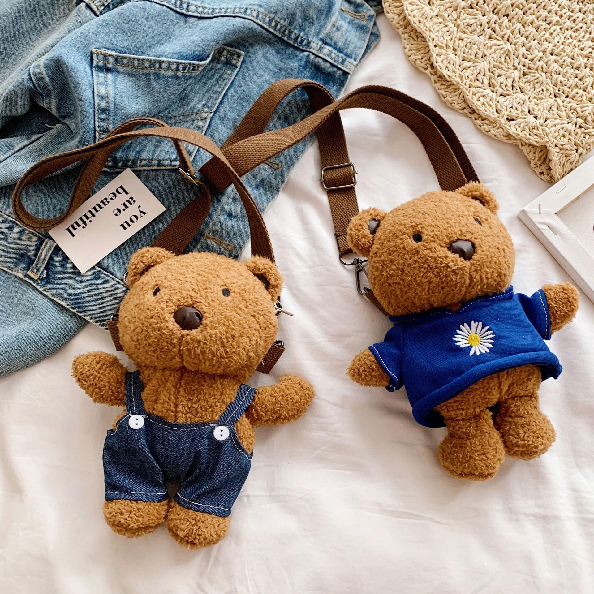 Korean-Style Cute Bear Bag 2020 New Style Stuffed Toy Women's Bag Cartoon Shoulder Bag Messenger Bag Phone Bag