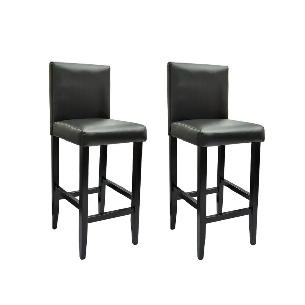 2pcs Modern Bar Stools VidaXL Black Chairs Bar Stools Formal Dinning Chairs For Dining Room Chairs For Living Room High Quality