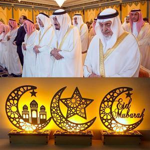Image 3 - 원조 나무 공예 이드 무바라크 장식 라마단 및 이드 장식 홈 이슬람 무슬림 파티 용품 라마단 카림 이드 알 Adha