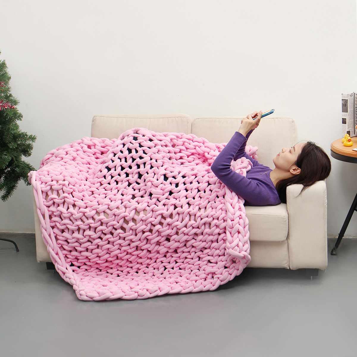 120x150 см вязаное одеяло для дивана ручной работы, мягкое теплое толстое Хлопковое одеяло, зимнее элегантное уютное теплое постельное белье - 5