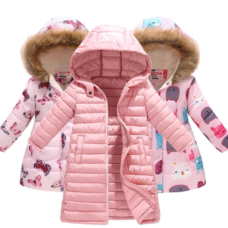 Kids Girls Jacket 2018 Autumn Winter Jacket For Girls Coat Baby Warm Hooded Outerwear Coat Girls Clothing Children Down Parkas