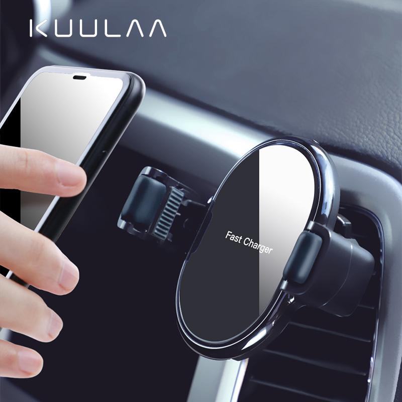 KUULAA 10W Wireless Car Charger For Xiaomi iPhone 11 XS XR X Fast Charging Automatic Roller Car Phone Holder for Huawei Samsung