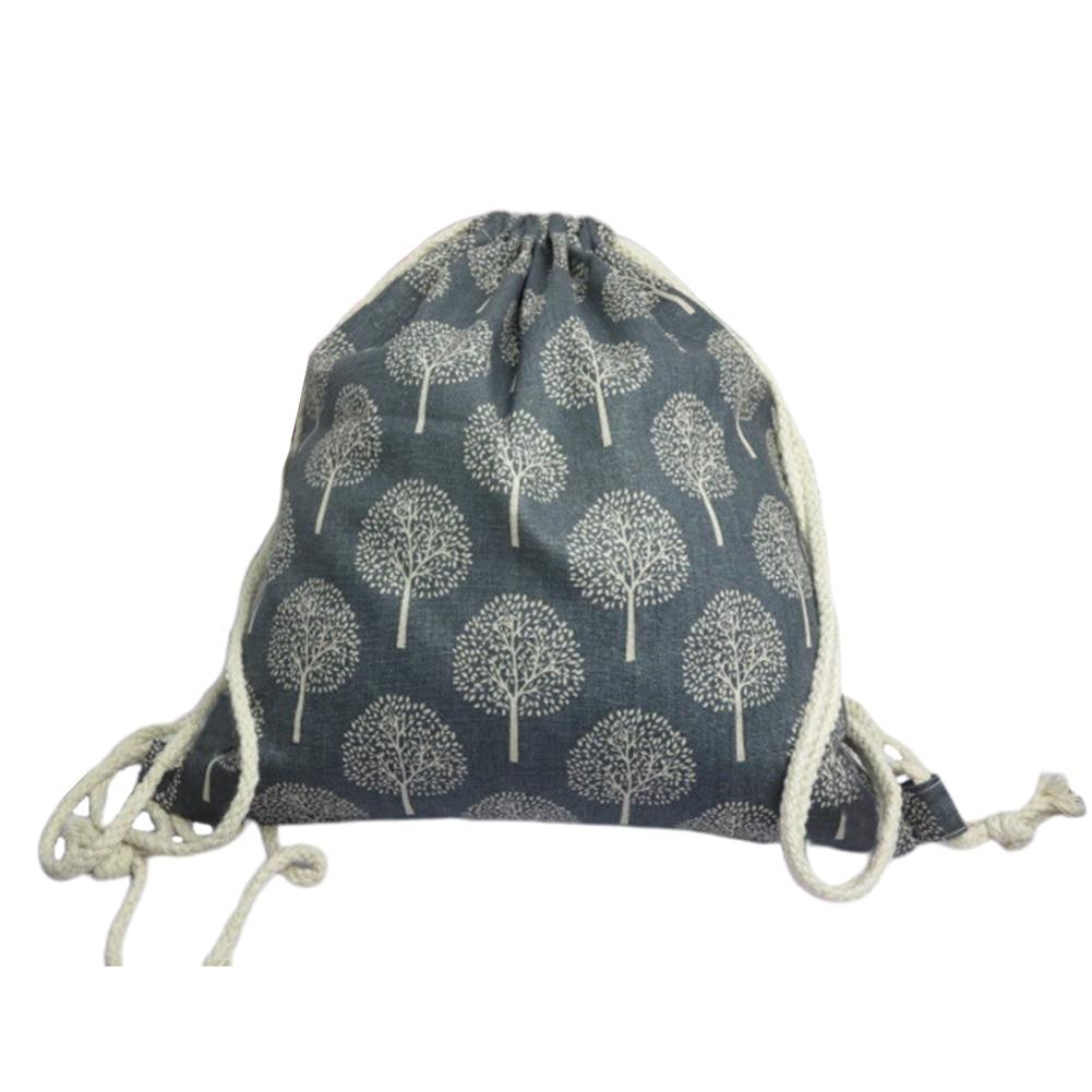 4pcs Foldable Storage Bag Practical Shopping Tree Printed Cotton Linen Fashion Wear Resistant Drawstring Large Capacity Home