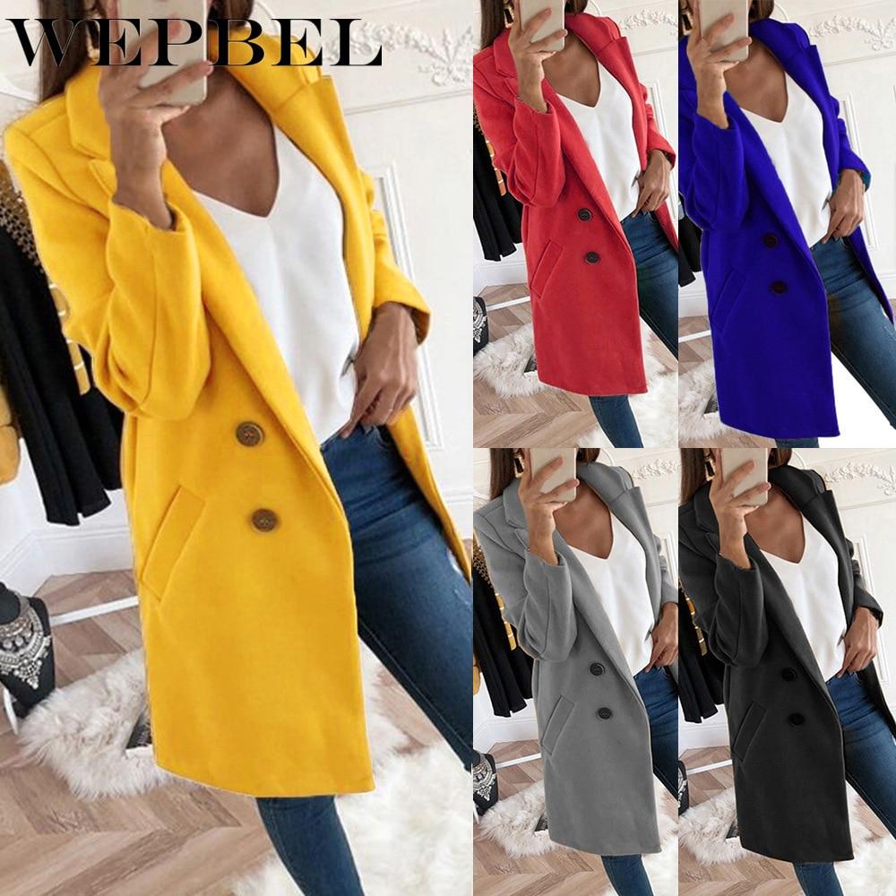 WEPBEL Winter Woolen Coat Women Lapel Neck Jacket Ladies Pure Color Long Coat Button Woolen Overcoat Female Blazers Body Suits