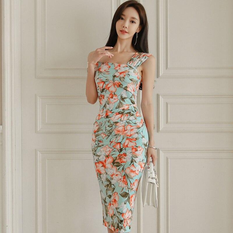New Arrival Women Asymmetrical Neck Sexy Formal Dress Fashion Casual Elegant Temperament Slim High Quality Print Pencil Dress