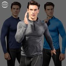 Mens Wicking Sportswear Compression Fitness Tights Running Shirt Training Long Soccer Jerseys Demix Gym ManS T-Shirt