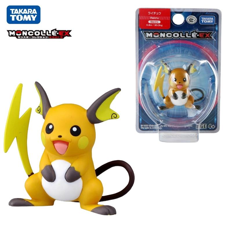 Genuine Tomy Pokemon EX Asia-40 Raichu 4.5cm Anime Figure Model Toys Pikachu Collection Dolls Kids Gift Official Box 975878