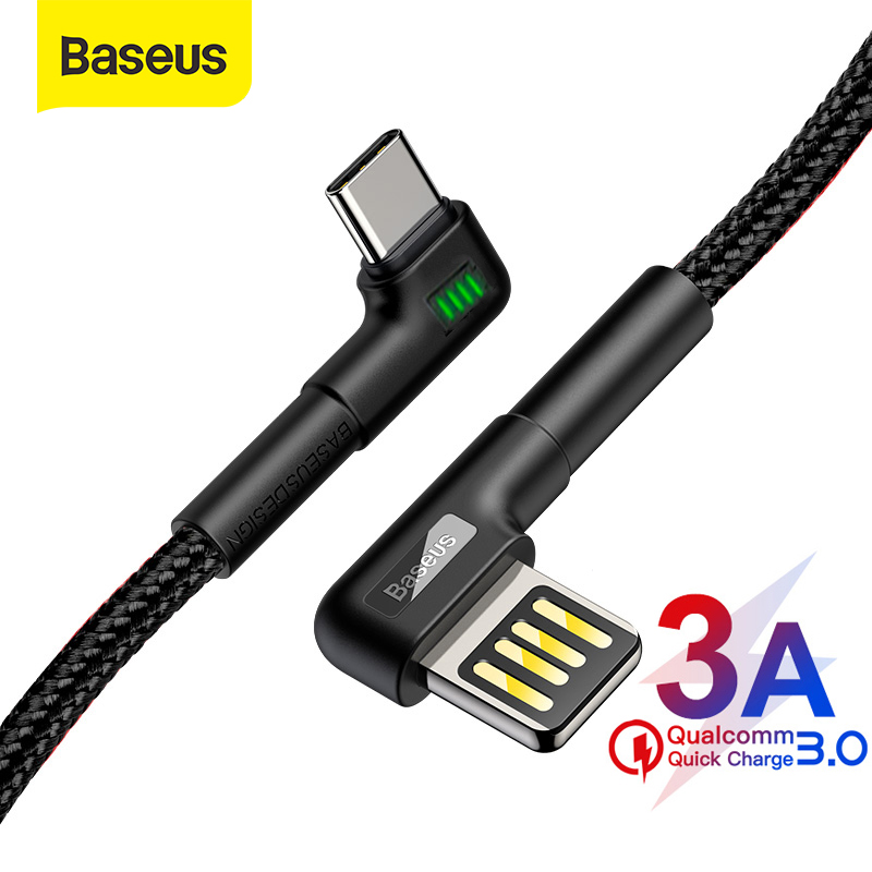 Baseus USB Type C Cable 3A Fast Charging USB C Cable Double Elbow Type C Cable for Samsung S9 S10 Data USB C Gaming Cable Wire|Mobile Phone Cables| |  - AliExpress