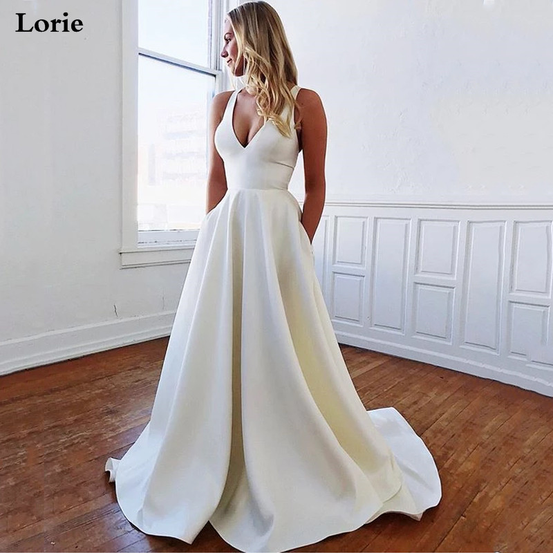Lorie A-Line Satin Wedding Dresses Plus Size V Neck Boho Bridal Gowns 2020 Vestidos Wedding Gowns With Big Bow
