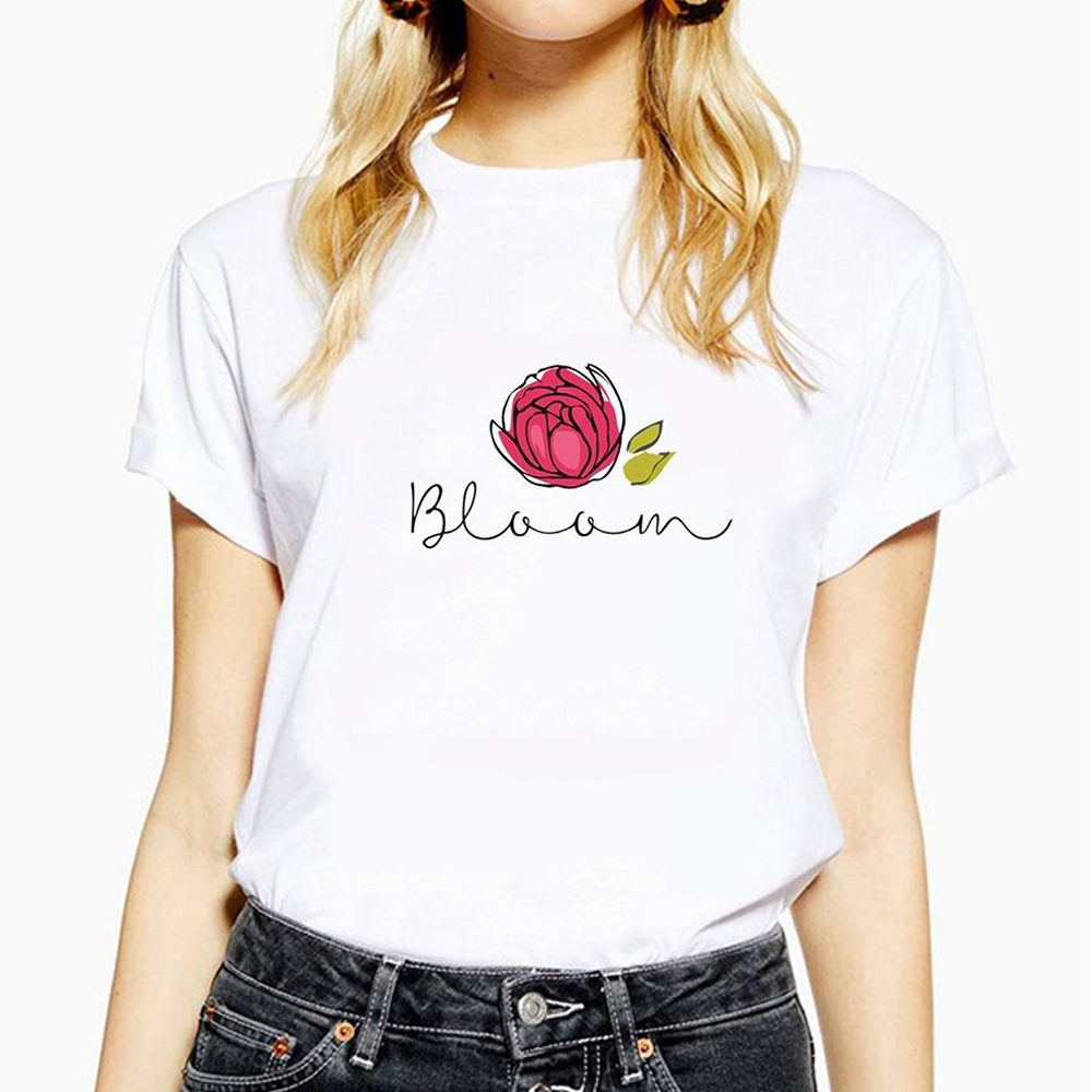 Rose letter Print Harajuku Short Sleeve Fashion New Summer Women Short Sleeve St