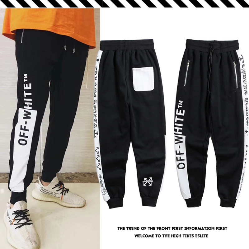 Europe And America Popular Brand Off White Printed Letter Black And White Mixed Colors Retro Ankle Banded Pants Men And Women Pl