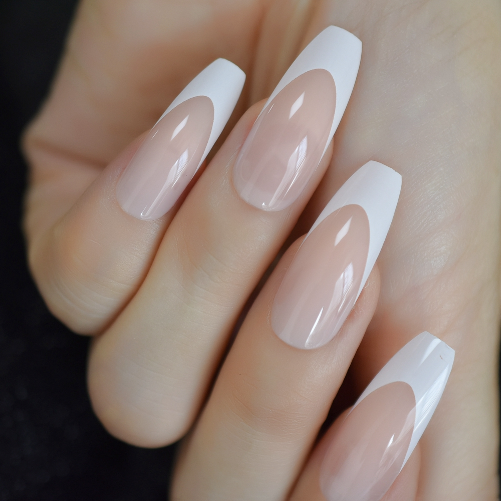 Long Coffin French Tip Fur Color Nude Faux Ongles White Smile Line Decoration Ballerina False Nails 24 Ct