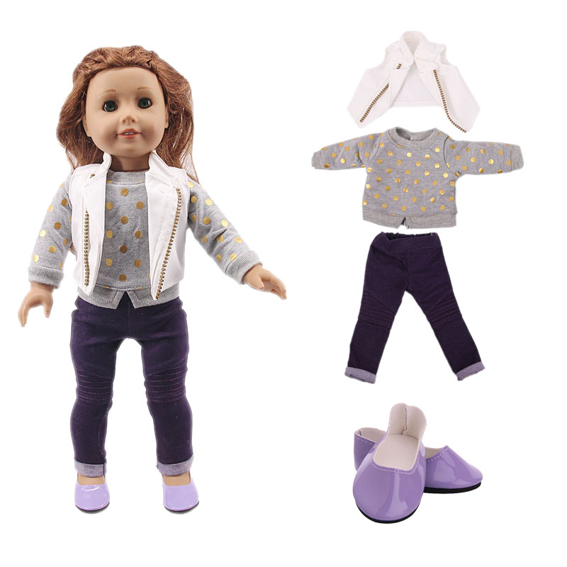 LUCKDOLL Casual Three-Piece Suit Fit 18Inch American 43cm Baby Doll Clothes Accessories,Girls Toys,Generation,Christmas Gift(China)