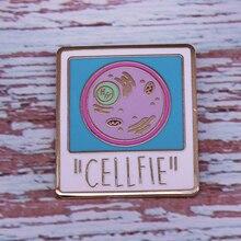 Эмалированная заколка Cellfie Science значок с фото Nerd Geek не только для биологов, но и отлично подходит для селфи/селфи.