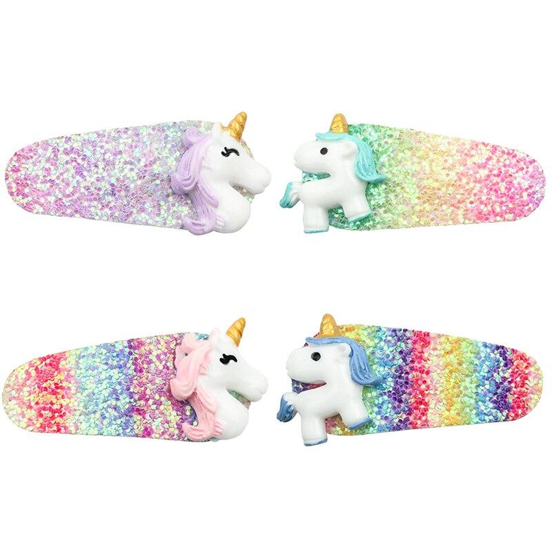 Unicorn Baby Hair Clip Cartoon Shiny Glitter Gradient Hair Pins Girls Sequin Rainbow Baby Hair Clips Accessories Cute Dreamy