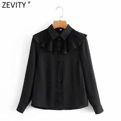 Zevity Women Fashion Turn Down Collar Pleated Ruffles Black Chiffon Smock Blouse Office Lady Retro Shirt Chic Blusas Tops LS7530