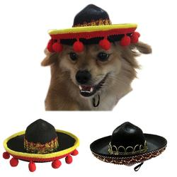 Mini chapéu de sol para cachorro, chapéu de palha estilo mexicano para cães e gatos, festa na praia, chapéu de palha, sombro divertido acessórios do chapéu
