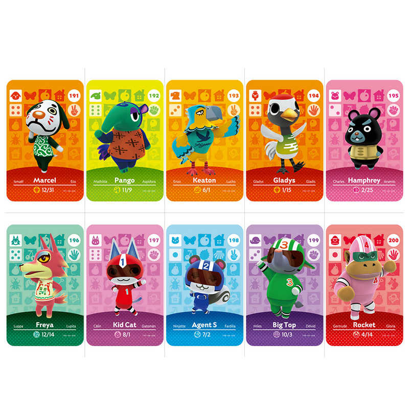 181-200 Carta di Lavoro della Carta di Amiibo per NS Animal Crossing Giochi Serie 2 Drake Alice Ankha Vic Giochi di Carte