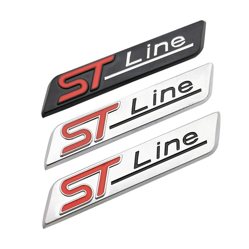 Металлическая наклейка ST line Red Blue для FORD FIESTA FOCUS MONDEO, хромированная наклейка для стайлинга автомобиля