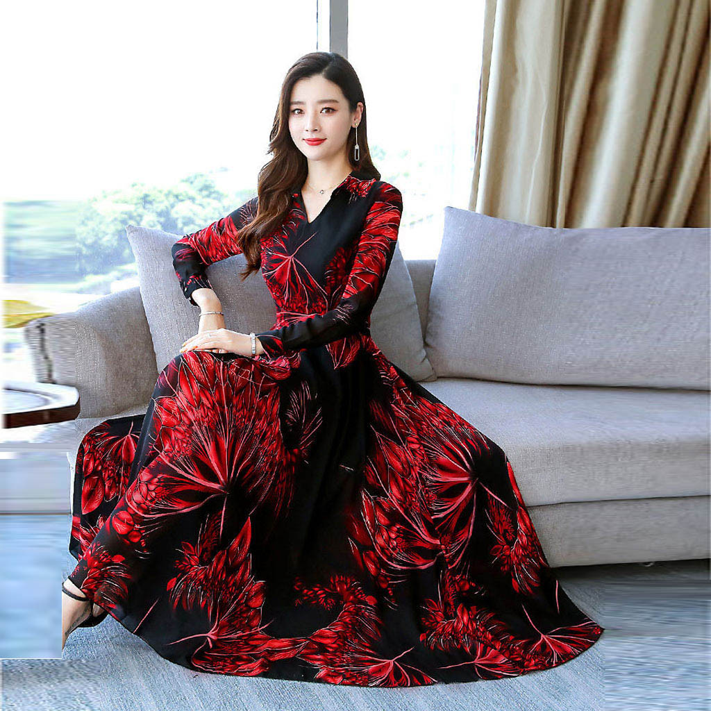 Fashion Women V-Neck Long Sleeve  Long Dress Ladies Floral Print A-line Dress vestidos de fiesta de noche *