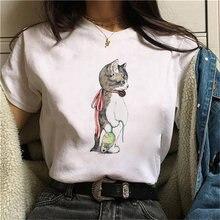 Принтовые тройники топы милый кот футболки с принтом женская